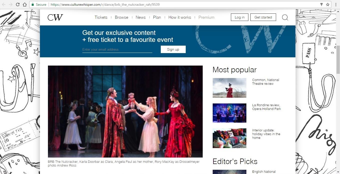 Screenshot of Culture Whisper content by Georgina Butler. Preview of Birmingham Royal Ballet: The Nutcracker, image 2