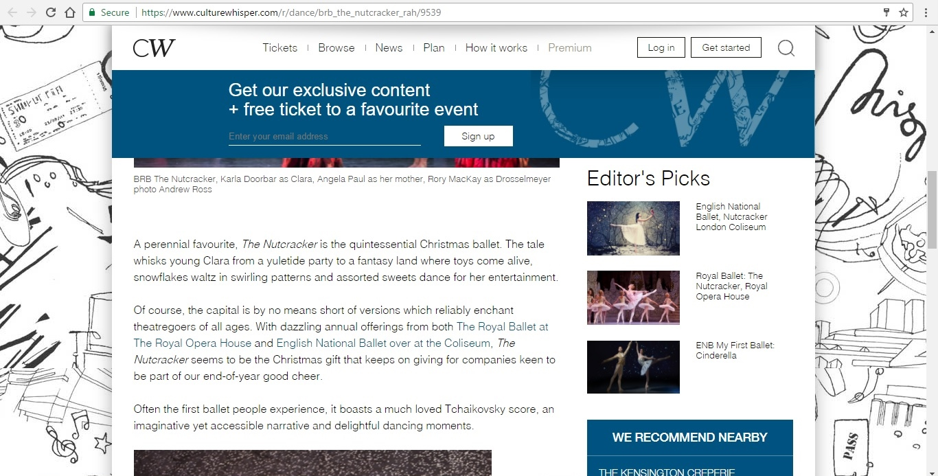 Screenshot of Culture Whisper content by Georgina Butler. Preview of Birmingham Royal Ballet: The Nutcracker, image 3