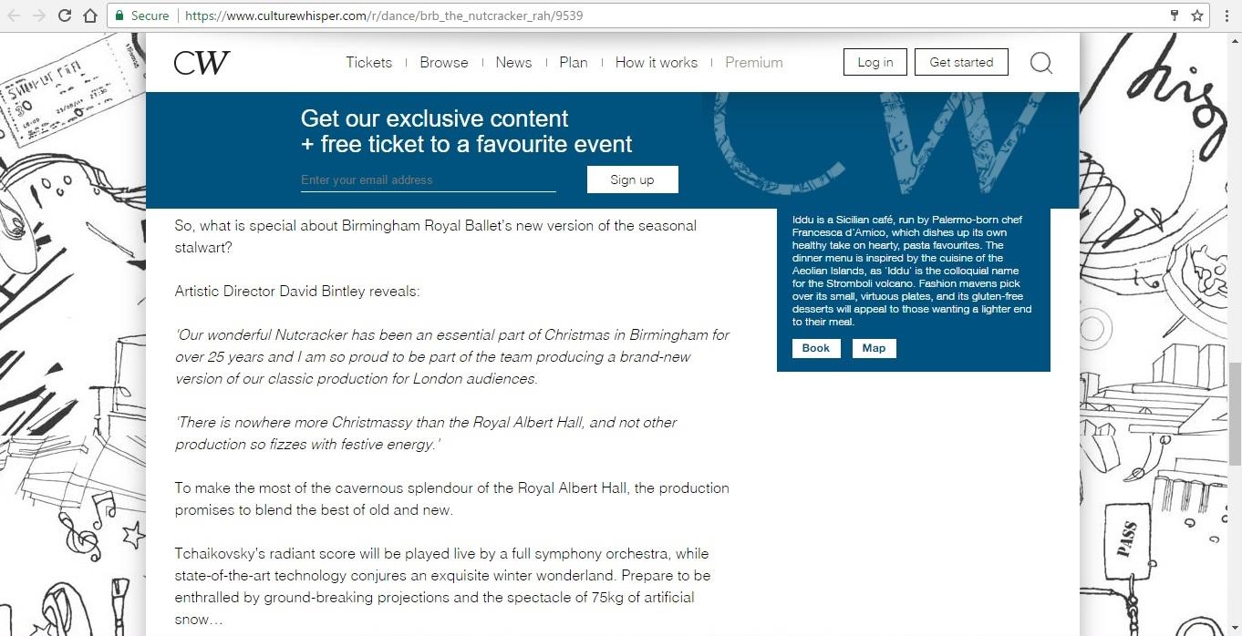 Screenshot of Culture Whisper content by Georgina Butler. Preview of Birmingham Royal Ballet: The Nutcracker, image 5