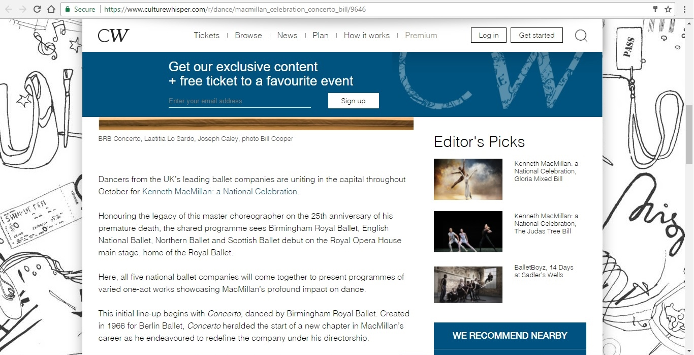 Screenshot of Culture Whisper content by Georgina Butler. Preview of Kenneth MacMillan a National Celebration: Concerto Mixed Bill, image 3