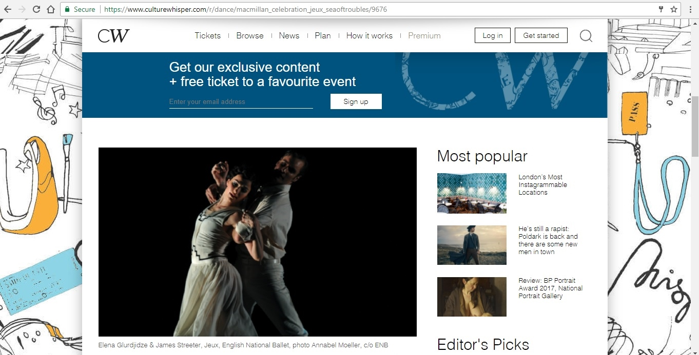 Screenshot of Culture Whisper content by Georgina Butler. Preview of Kenneth MacMillan a National Celebration: Jeux / Sea of Troubles, image 2