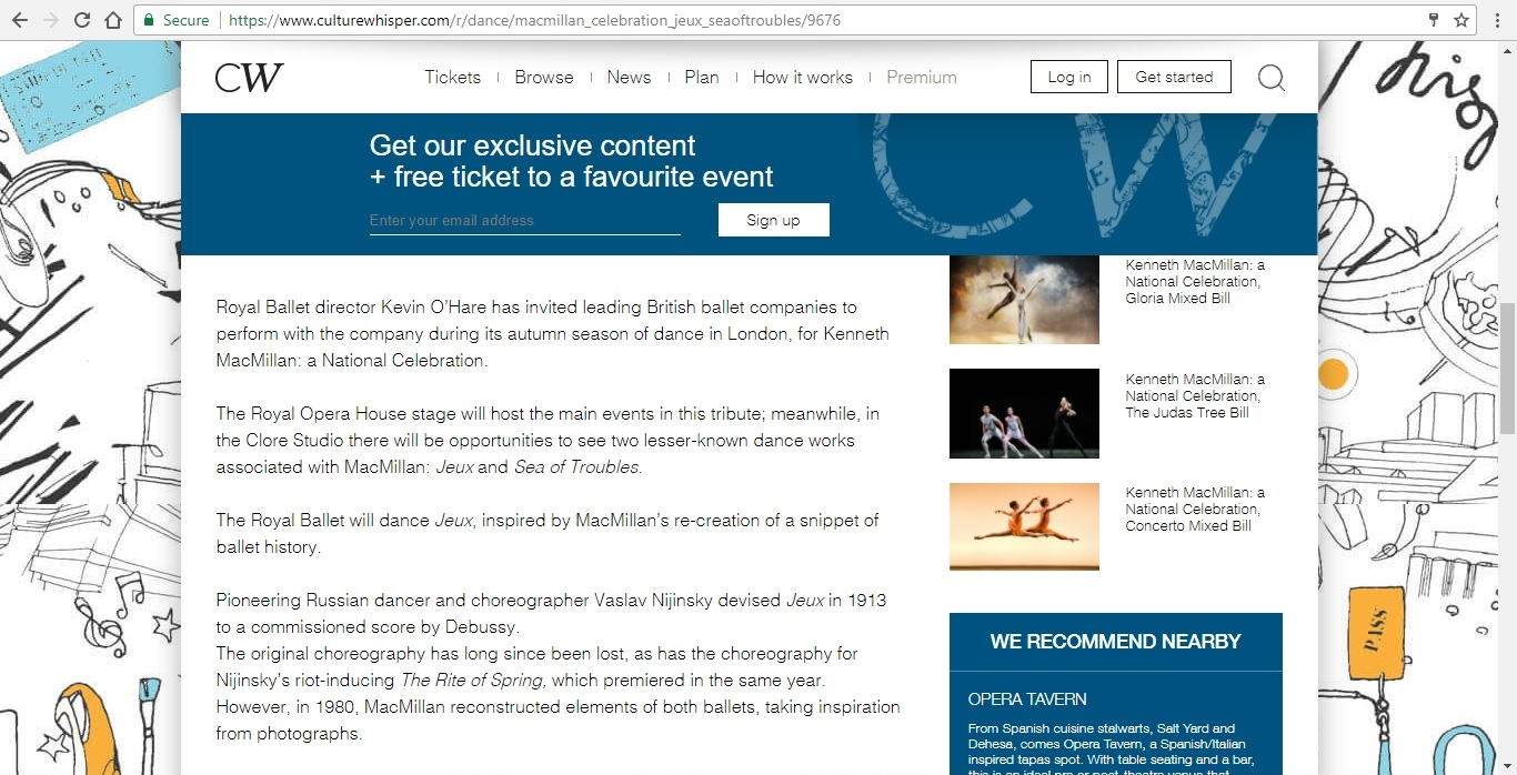 Screenshot of Culture Whisper content by Georgina Butler. Preview of Kenneth MacMillan a National Celebration: Jeux / Sea of Troubles, image 3
