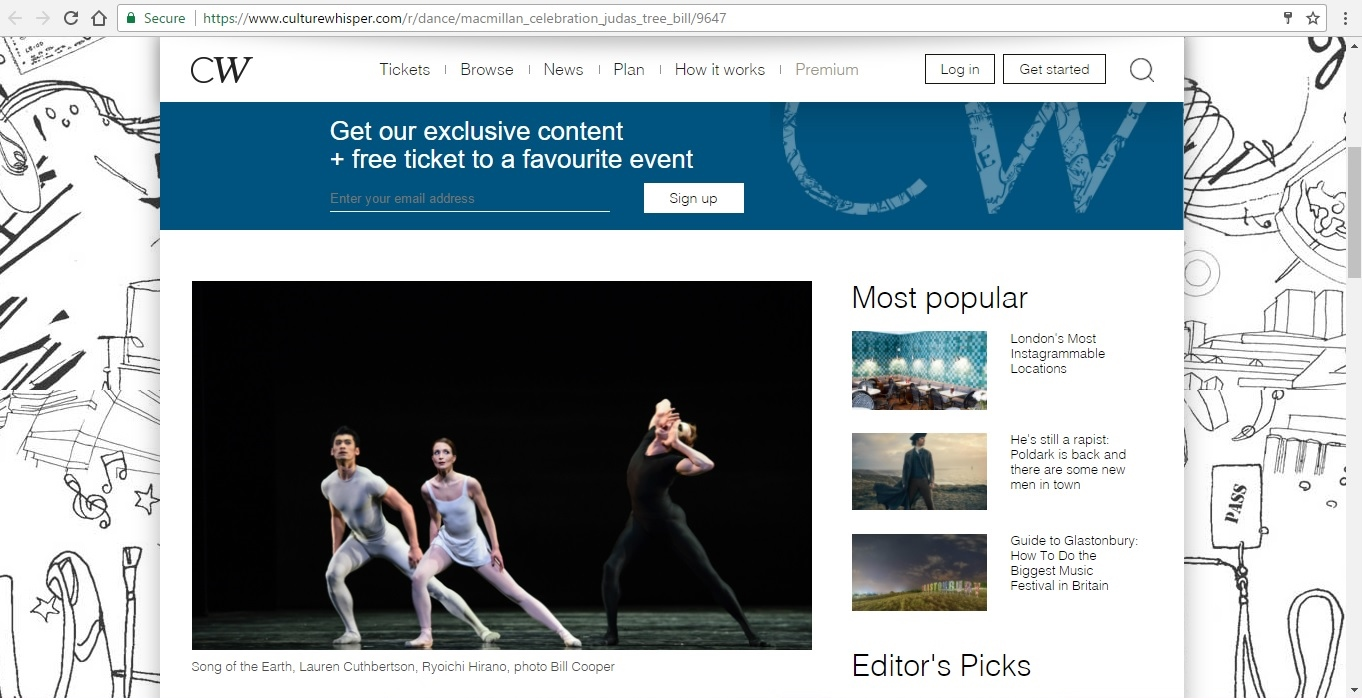 Screenshot of Culture Whisper content by Georgina Butler. Preview of Kenneth MacMillan a National Celebration: The Judas Tree Bill, image 2