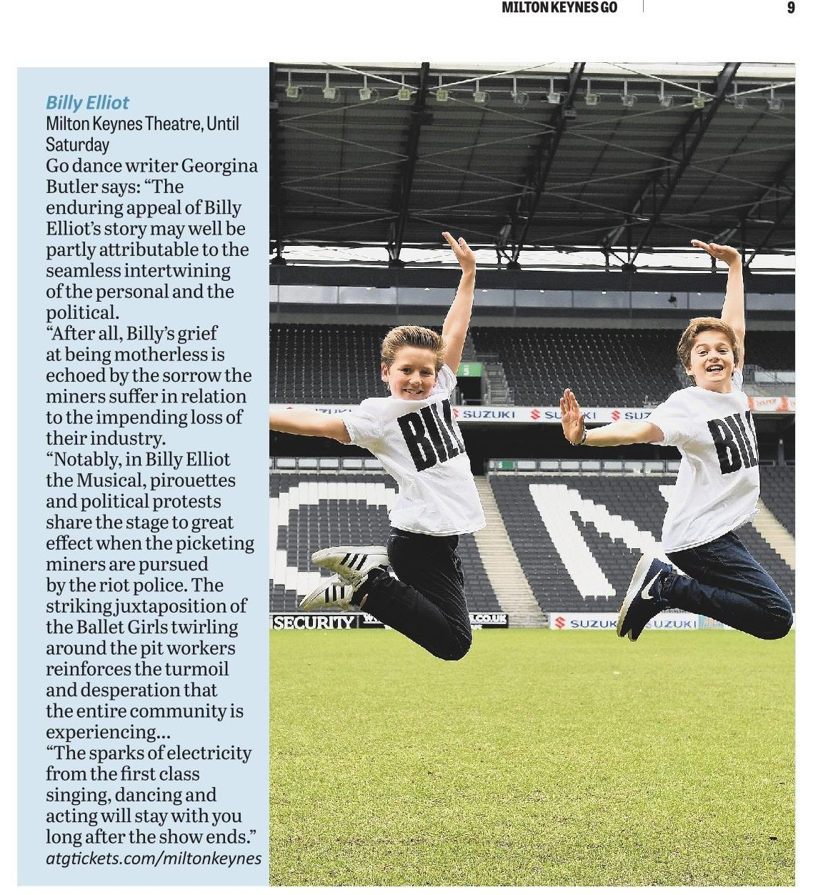 Billy Elliot the Musical. Feature in the Milton Keynes Citizen GO supplement, 15th June 2017.