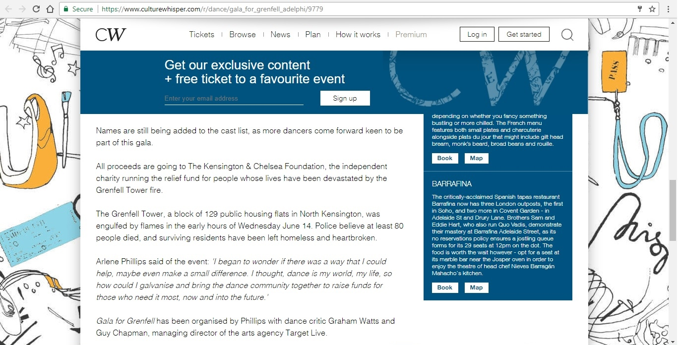 Screenshot of Culture Whisper content by Georgina Butler. Preview of Gala for Grenfell, image 4