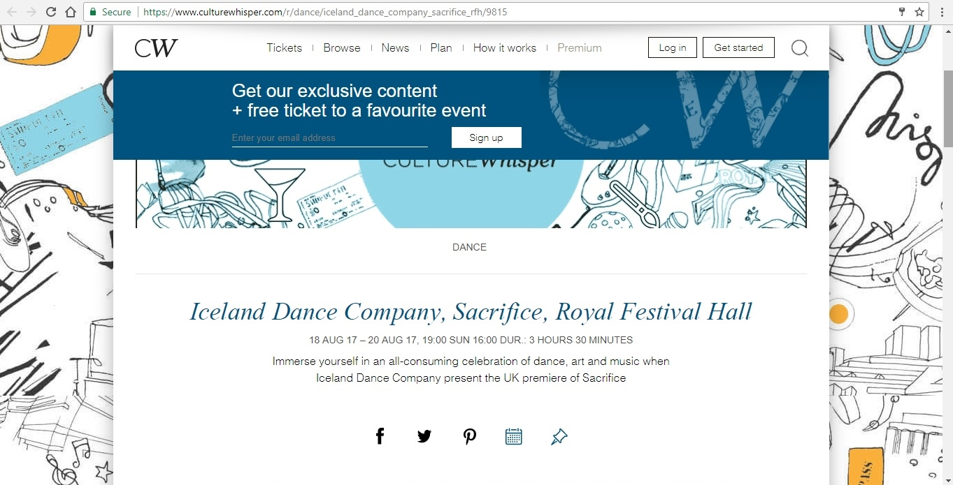 Screenshot of Culture Whisper content by Georgina Butler. Preview of Iceland Dance Company: Sacrifice, image 1