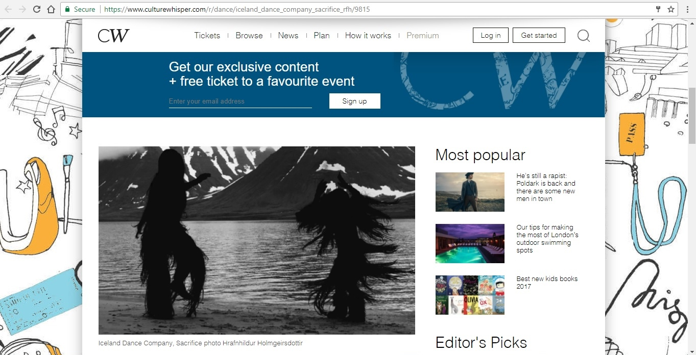 Screenshot of Culture Whisper content by Georgina Butler. Preview of Iceland Dance Company: Sacrifice, image 2