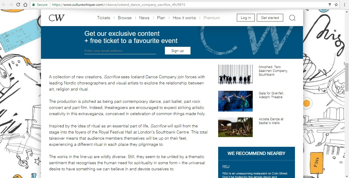 Screenshot of Culture Whisper content by Georgina Butler. Preview of Iceland Dance Company: Sacrifice, image 3