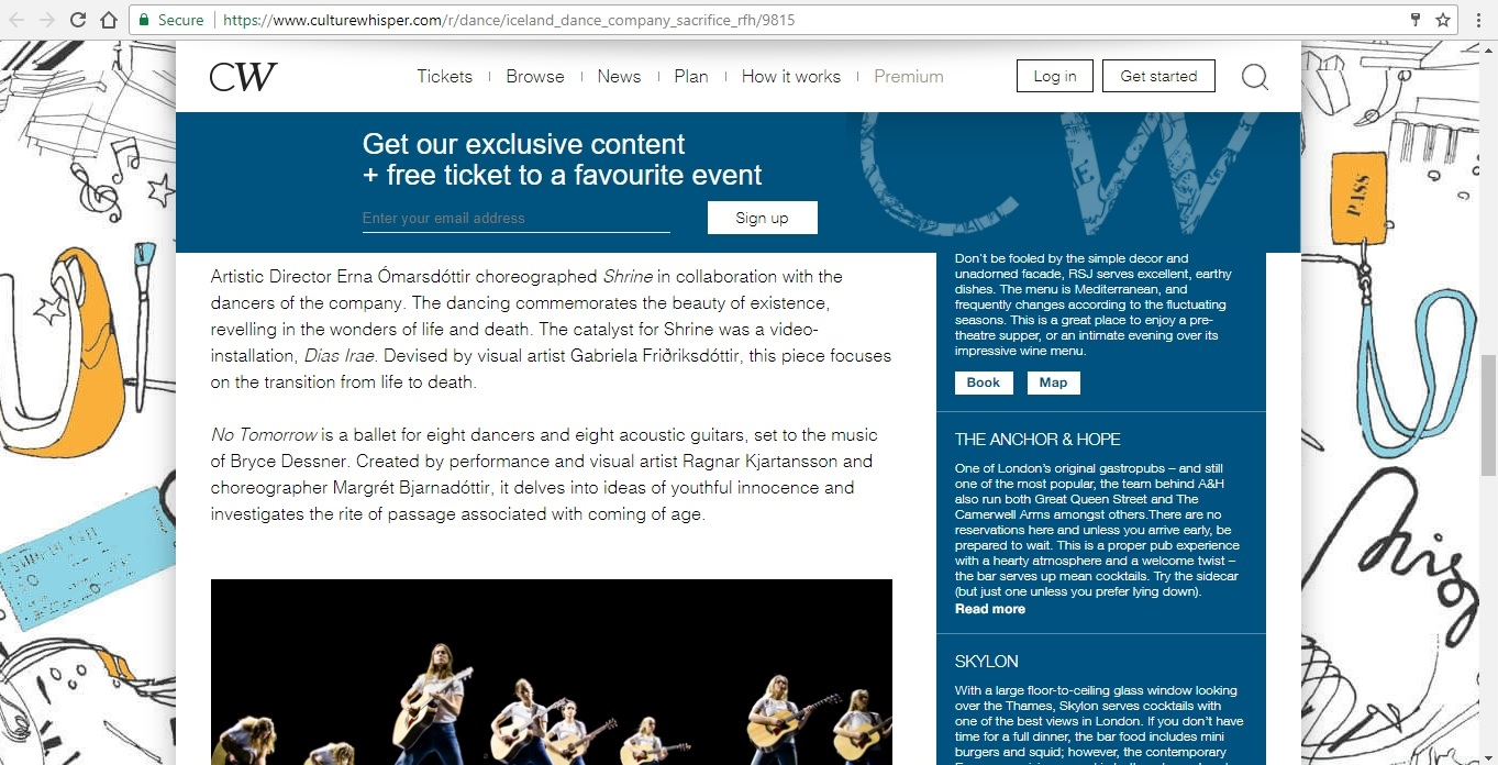 Screenshot of Culture Whisper content by Georgina Butler. Preview of Iceland Dance Company: Sacrifice, image 4