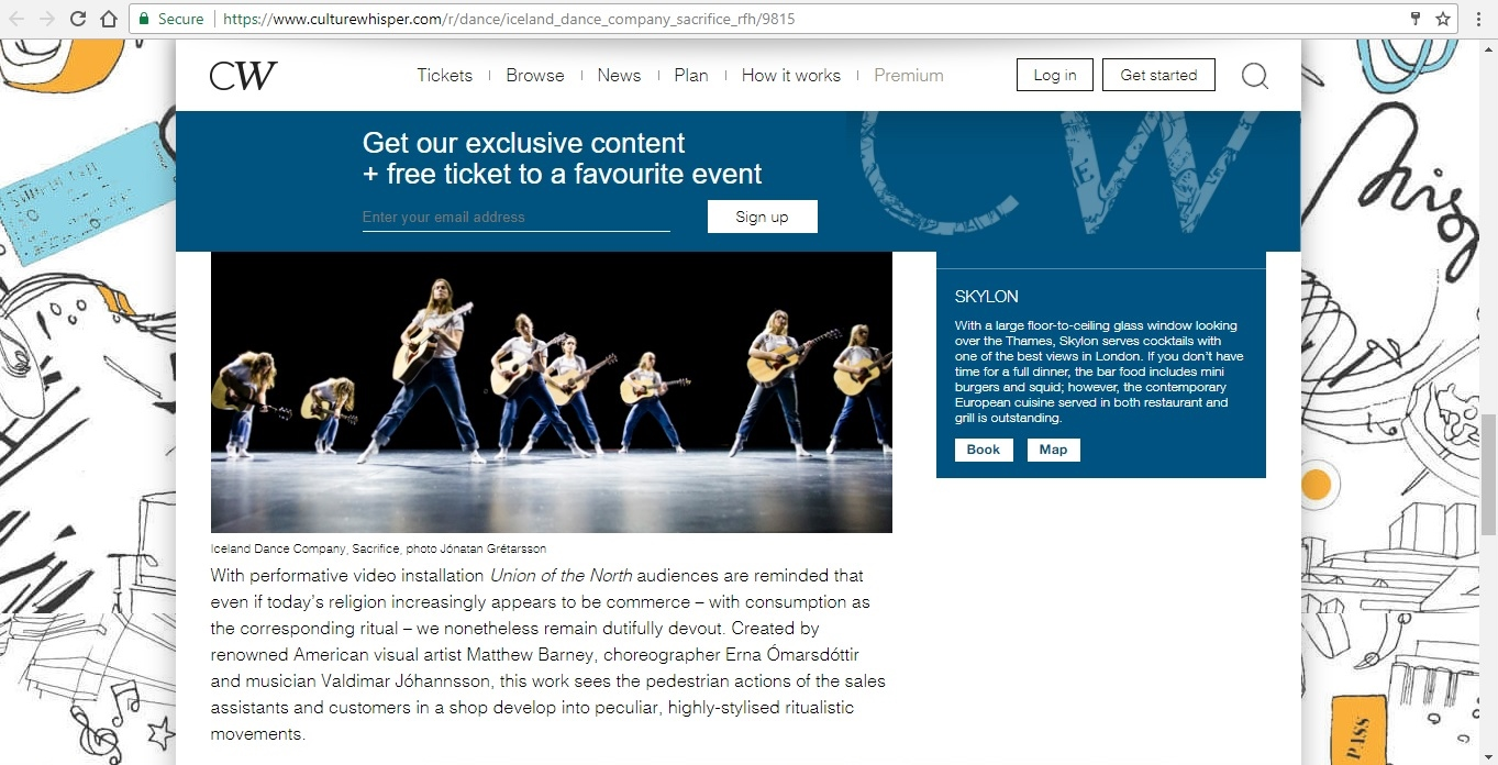 Screenshot of Culture Whisper content by Georgina Butler. Preview of Iceland Dance Company: Sacrifice, image 5