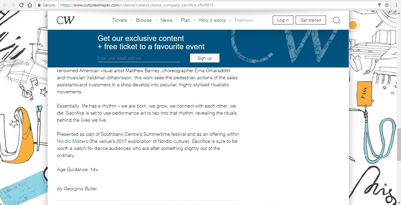 Screenshot of Culture Whisper content by Georgina Butler. Preview of Iceland Dance Company: Sacrifice, image 6