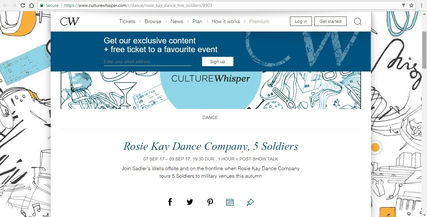 Screenshot of Culture Whisper content by Georgina Butler. Preview of Rosie Kay Dance Company: 5 Soldiers, image 1
