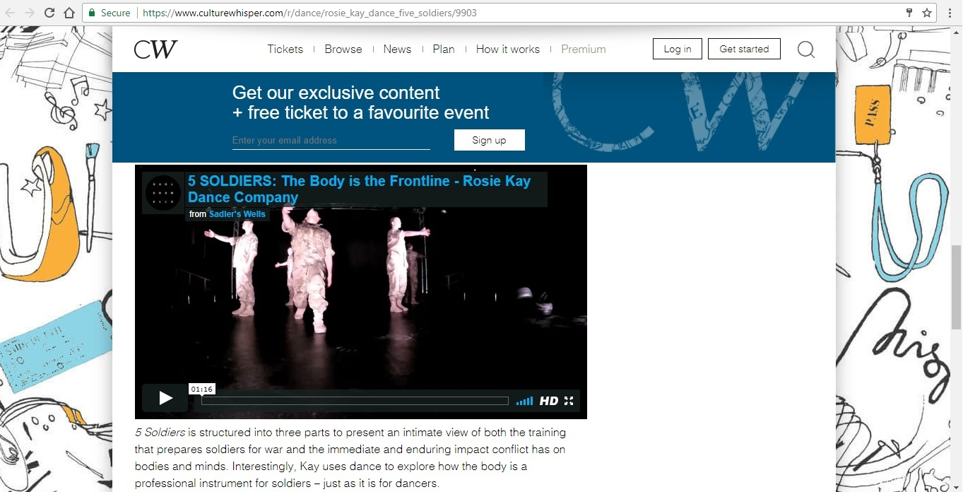 Screenshot of Culture Whisper content by Georgina Butler. Preview of Rosie Kay Dance Company: 5 Soldiers, image 4