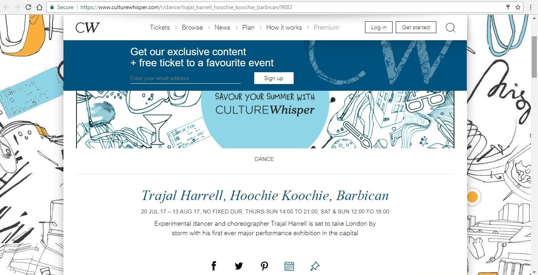 Screenshot of Culture Whisper content by Georgina Butler. Preview of Trajal Harrell: Hoochie Koochie, image 1