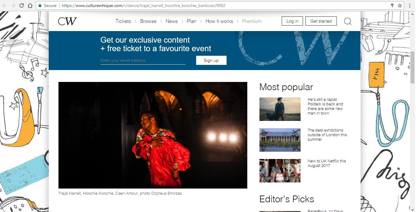 Screenshot of Culture Whisper content by Georgina Butler. Preview of Trajal Harrell: Hoochie Koochie, image 2