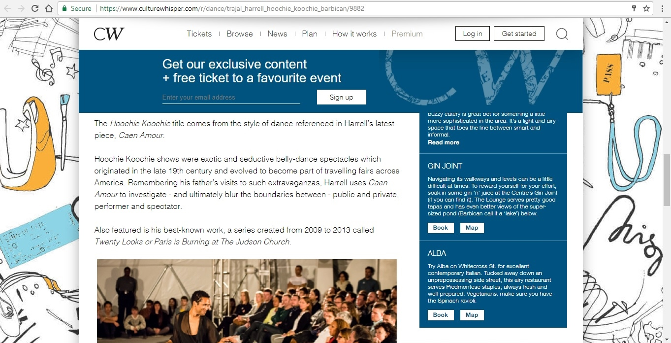 Screenshot of Culture Whisper content by Georgina Butler. Preview of Trajal Harrell: Hoochie Koochie, image 4
