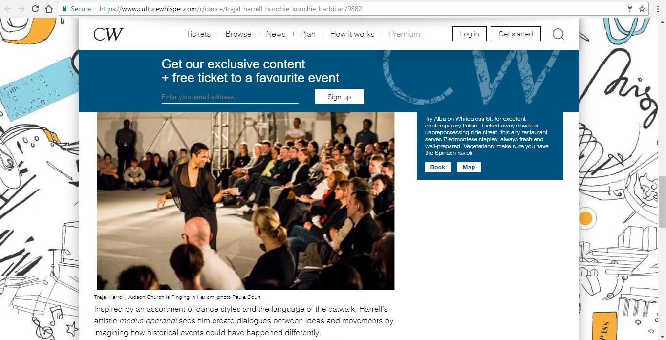 Screenshot of Culture Whisper content by Georgina Butler. Preview of Trajal Harrell: Hoochie Koochie, image 5