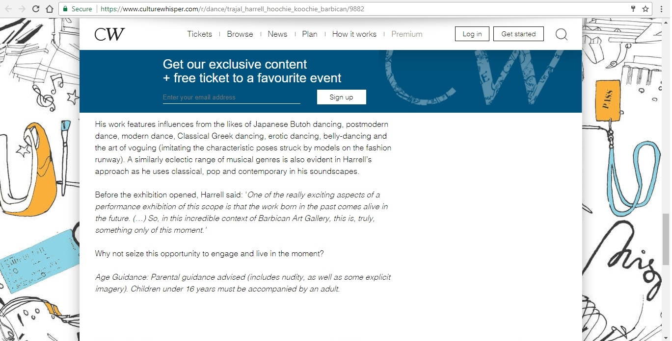 Screenshot of Culture Whisper content by Georgina Butler. Preview of Trajal Harrell: Hoochie Koochie, image 6
