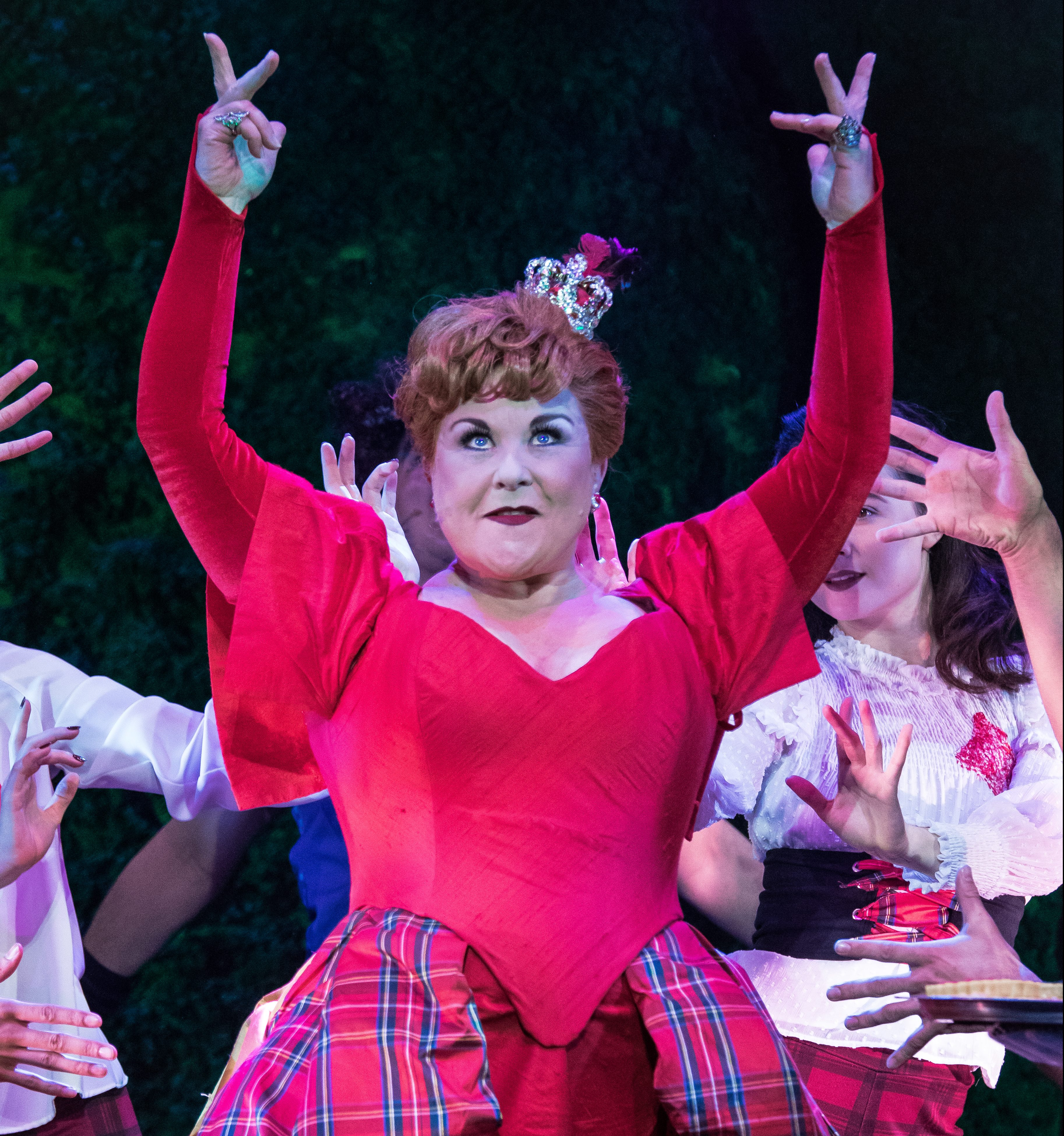 Former Coronation Street actress Wendi Peters as the Queen of Hearts in Wonderland.