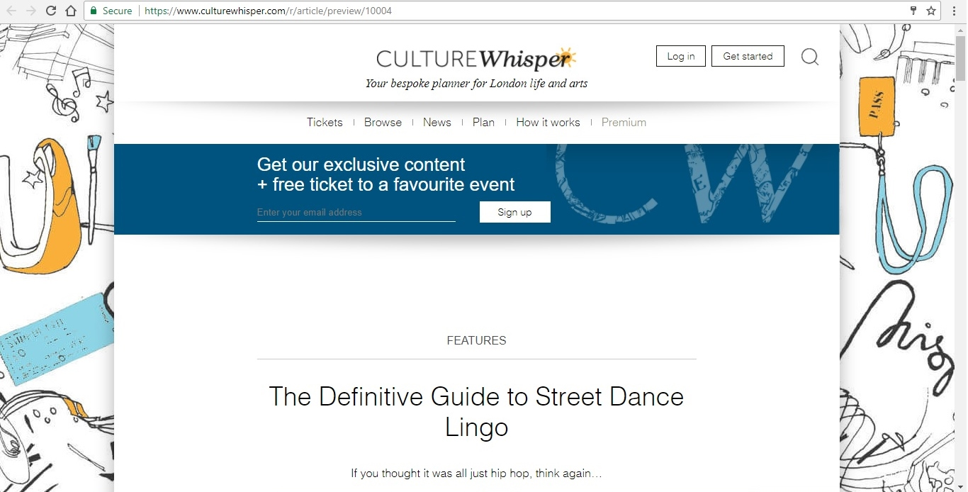 Screenshot of Culture Whisper content by Georgina Butler. Feature: The Definitive Guide to Street Dance Lingo, image 1