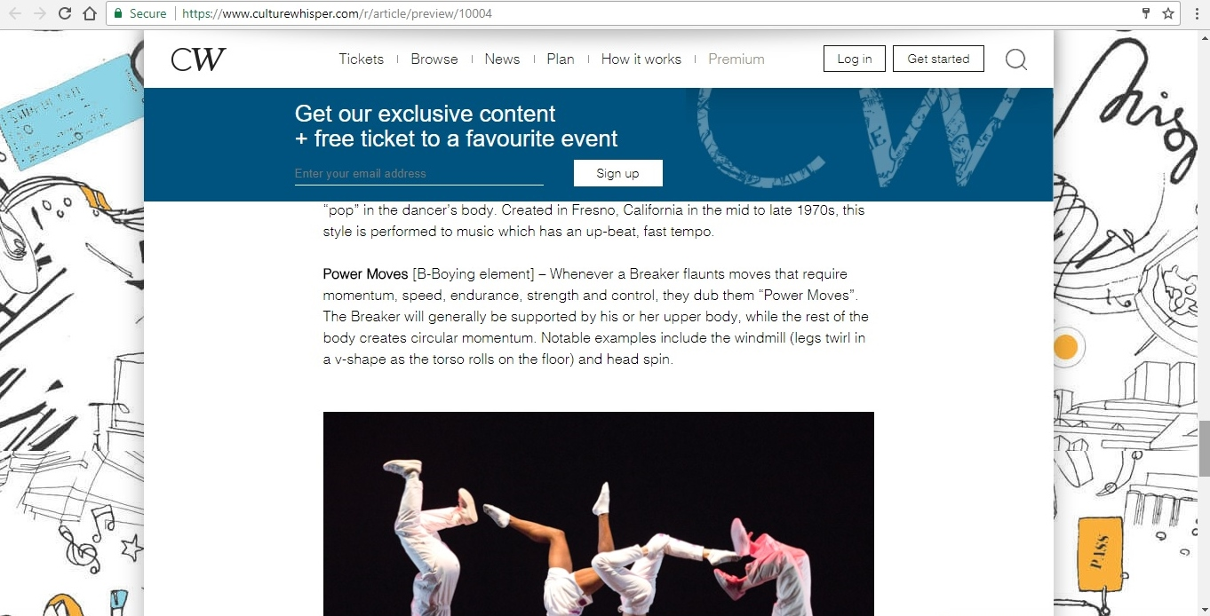 Screenshot of Culture Whisper content by Georgina Butler. Feature: The Definitive Guide to Street Dance Lingo, image 12