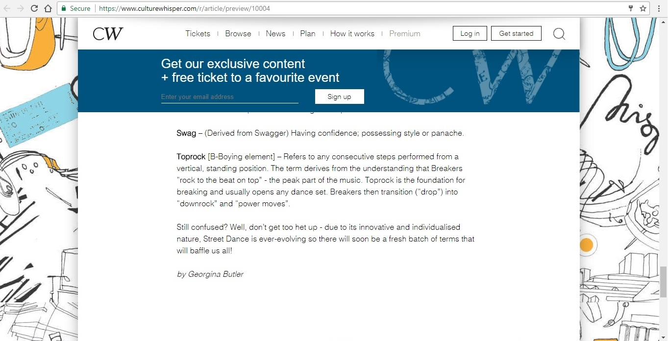 Screenshot of Culture Whisper content by Georgina Butler. Feature: The Definitive Guide to Street Dance Lingo, image 14