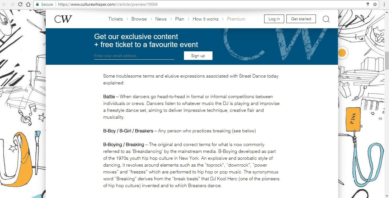 Screenshot of Culture Whisper content by Georgina Butler. Feature: The Definitive Guide to Street Dance Lingo, image 4