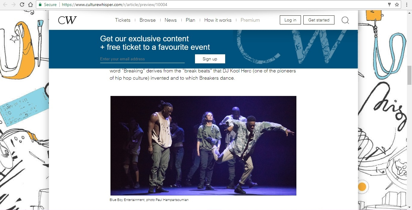 Screenshot of Culture Whisper content by Georgina Butler. Feature: The Definitive Guide to Street Dance Lingo, image 5