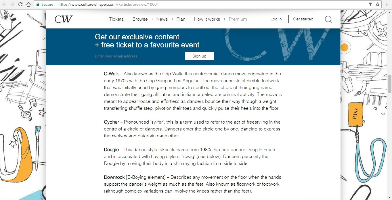 Screenshot of Culture Whisper content by Georgina Butler. Feature: The Definitive Guide to Street Dance Lingo, image 6