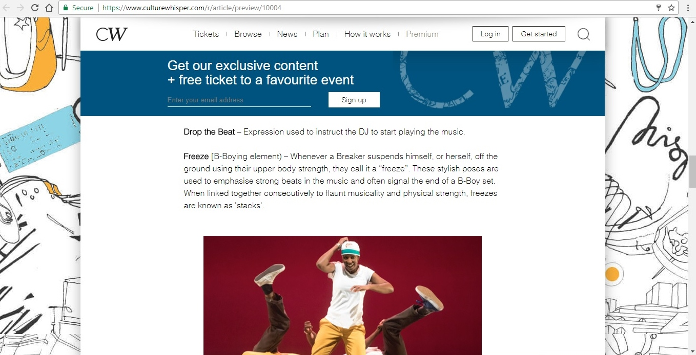 Screenshot of Culture Whisper content by Georgina Butler. Feature: The Definitive Guide to Street Dance Lingo, image 7
