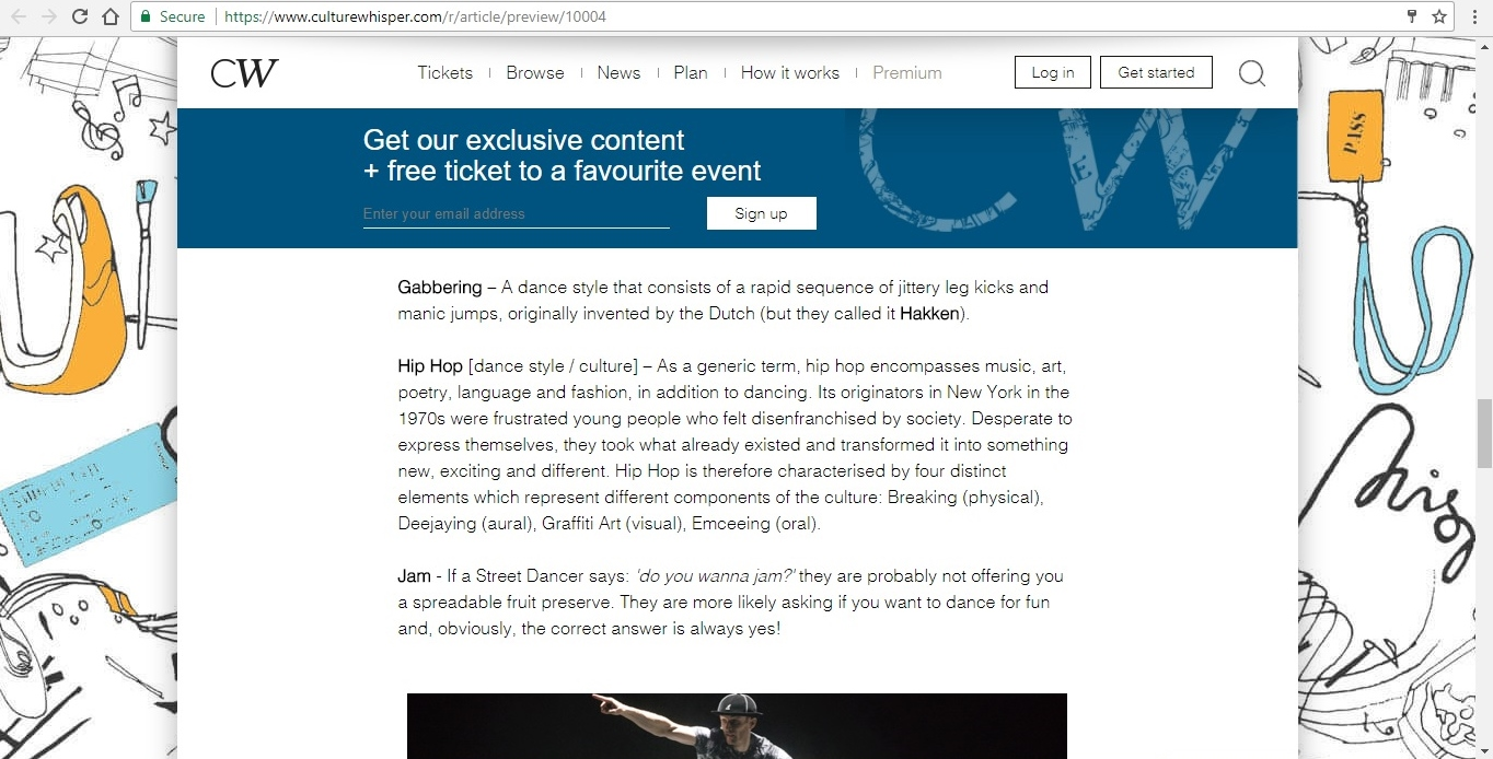 Screenshot of Culture Whisper content by Georgina Butler. Feature: The Definitive Guide to Street Dance Lingo, image 9