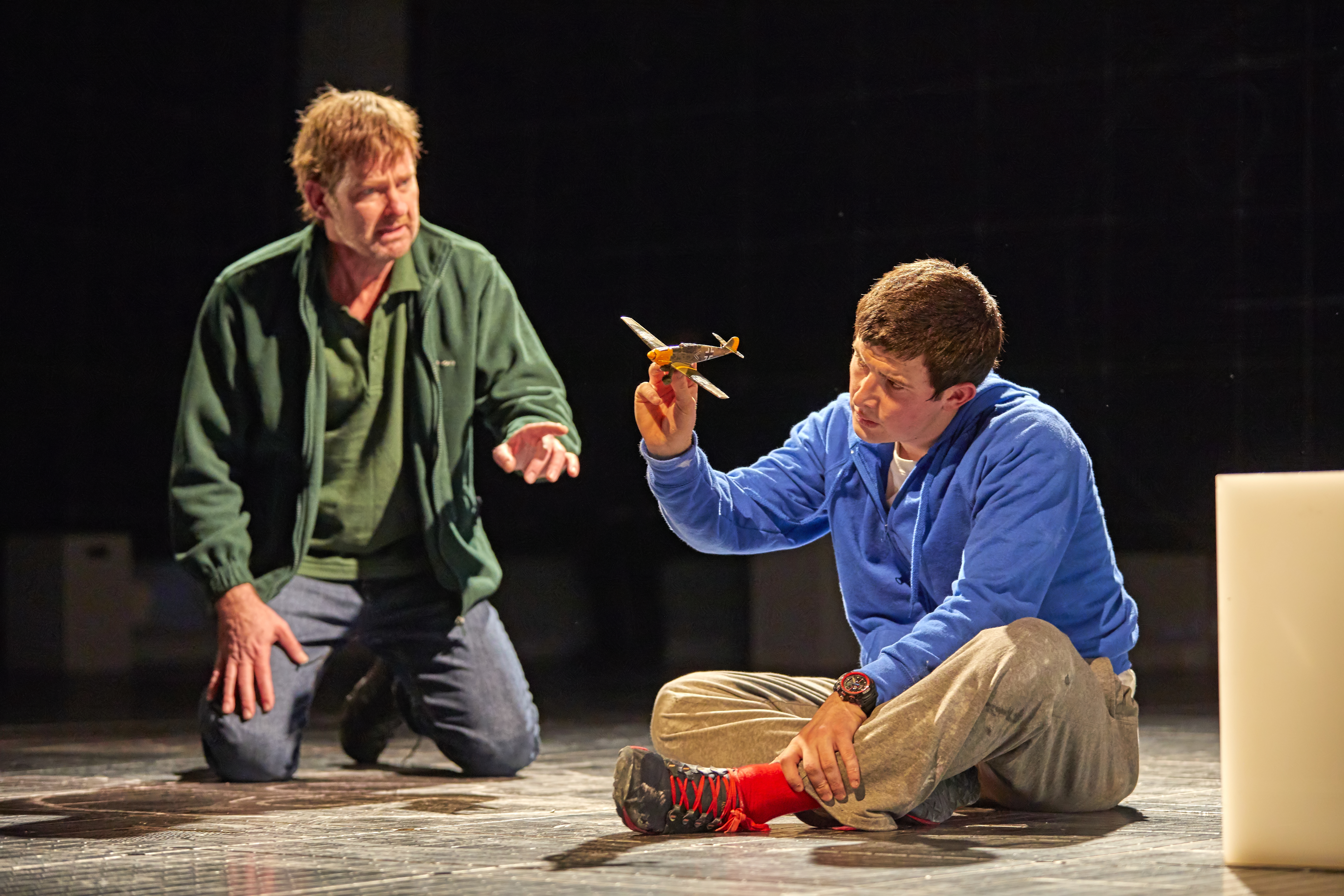 David Michaels as Ed and Scott Reid as Christopher Boone in the National Theatre production of The Curious Incident of the Dog in the Night-Time.