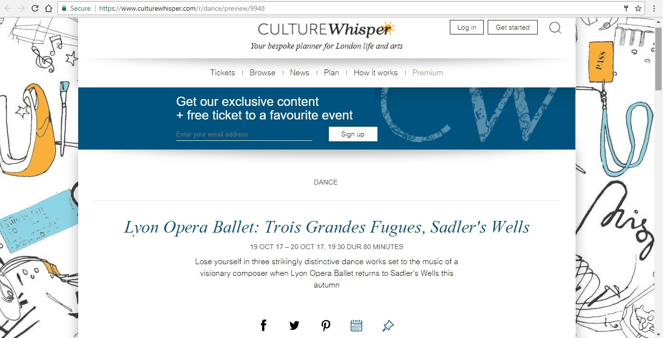 Screenshot of Culture Whisper content by Georgina Butler. Preview of Lyon Opera Ballet: Trois Grandes Fugues, image 1