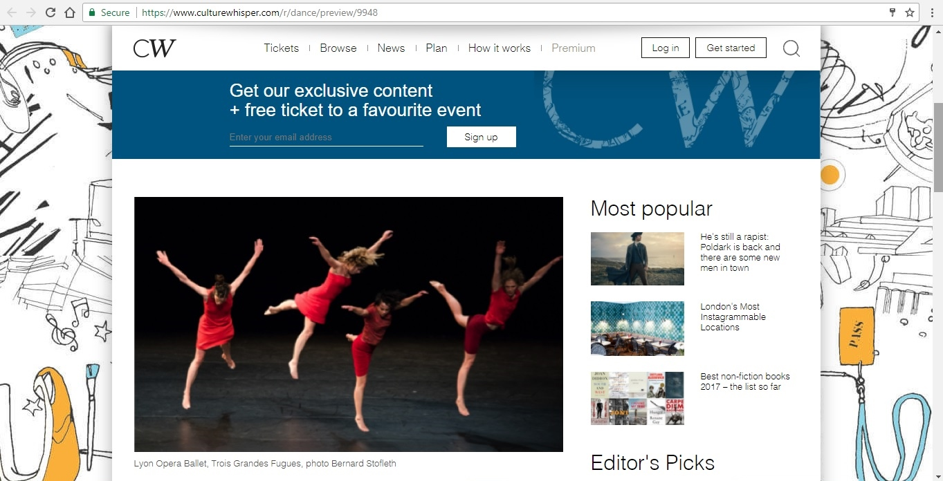 Screenshot of Culture Whisper content by Georgina Butler. Preview of Lyon Opera Ballet: Trois Grandes Fugues, image 2
