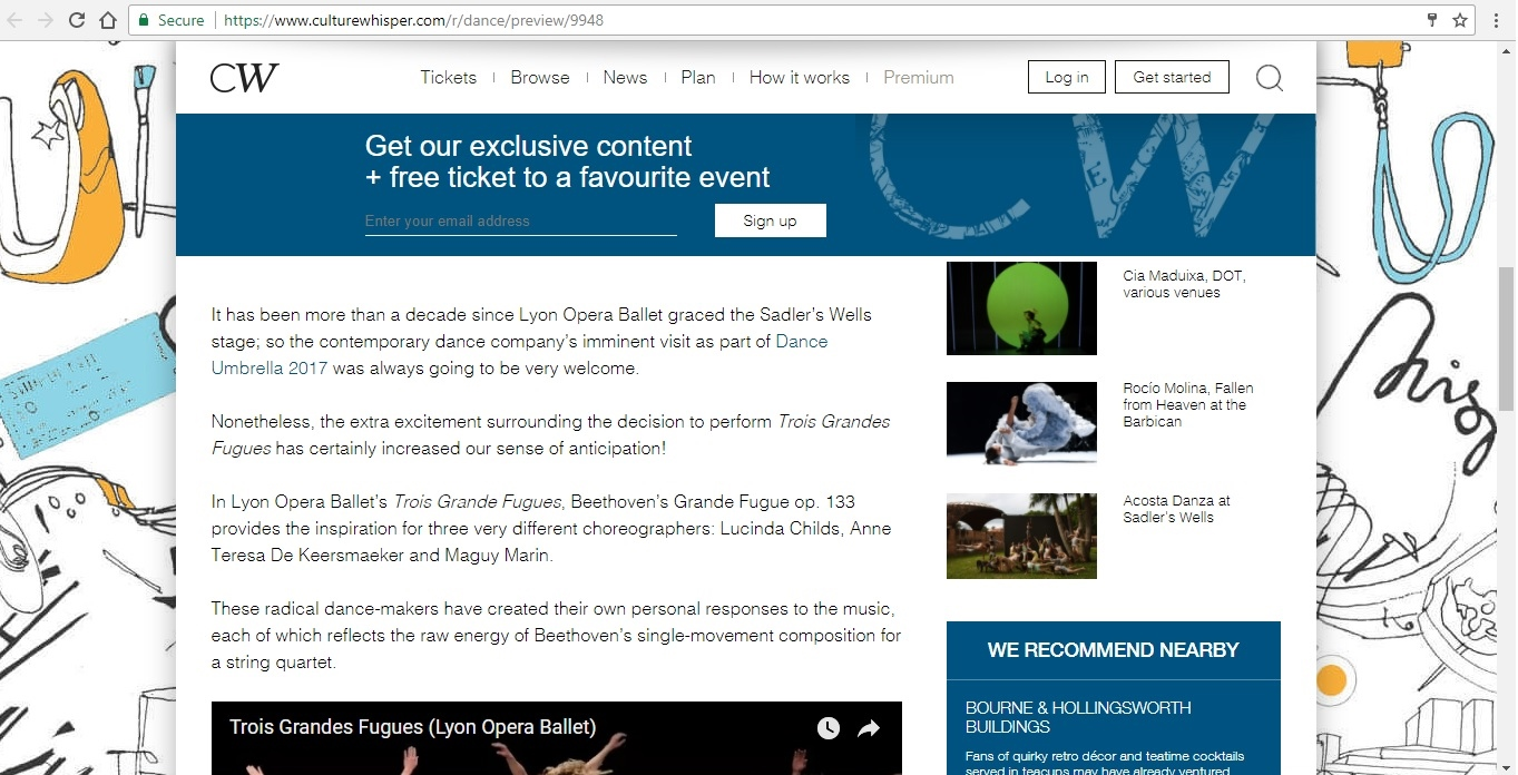 Screenshot of Culture Whisper content by Georgina Butler. Preview of Lyon Opera Ballet: Trois Grandes Fugues, image 3
