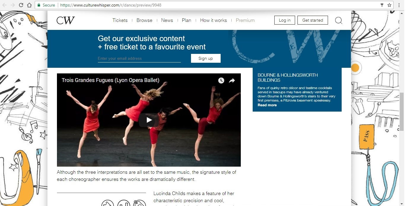 Screenshot of Culture Whisper content by Georgina Butler. Preview of Lyon Opera Ballet: Trois Grandes Fugues, image 4