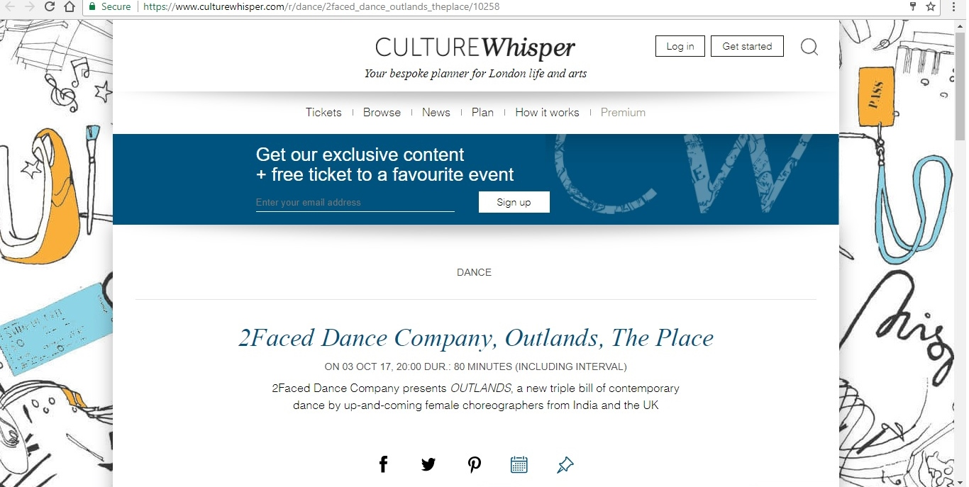 Screenshot of Culture Whisper content by Georgina Butler. Preview of 2Faced Dance Company: Outlands, image 1
