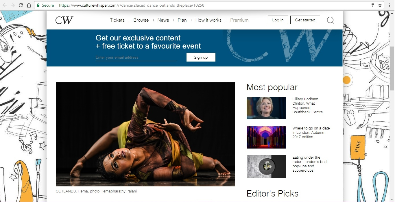 Screenshot of Culture Whisper content by Georgina Butler. Preview of 2Faced Dance Company: Outlands, image 2