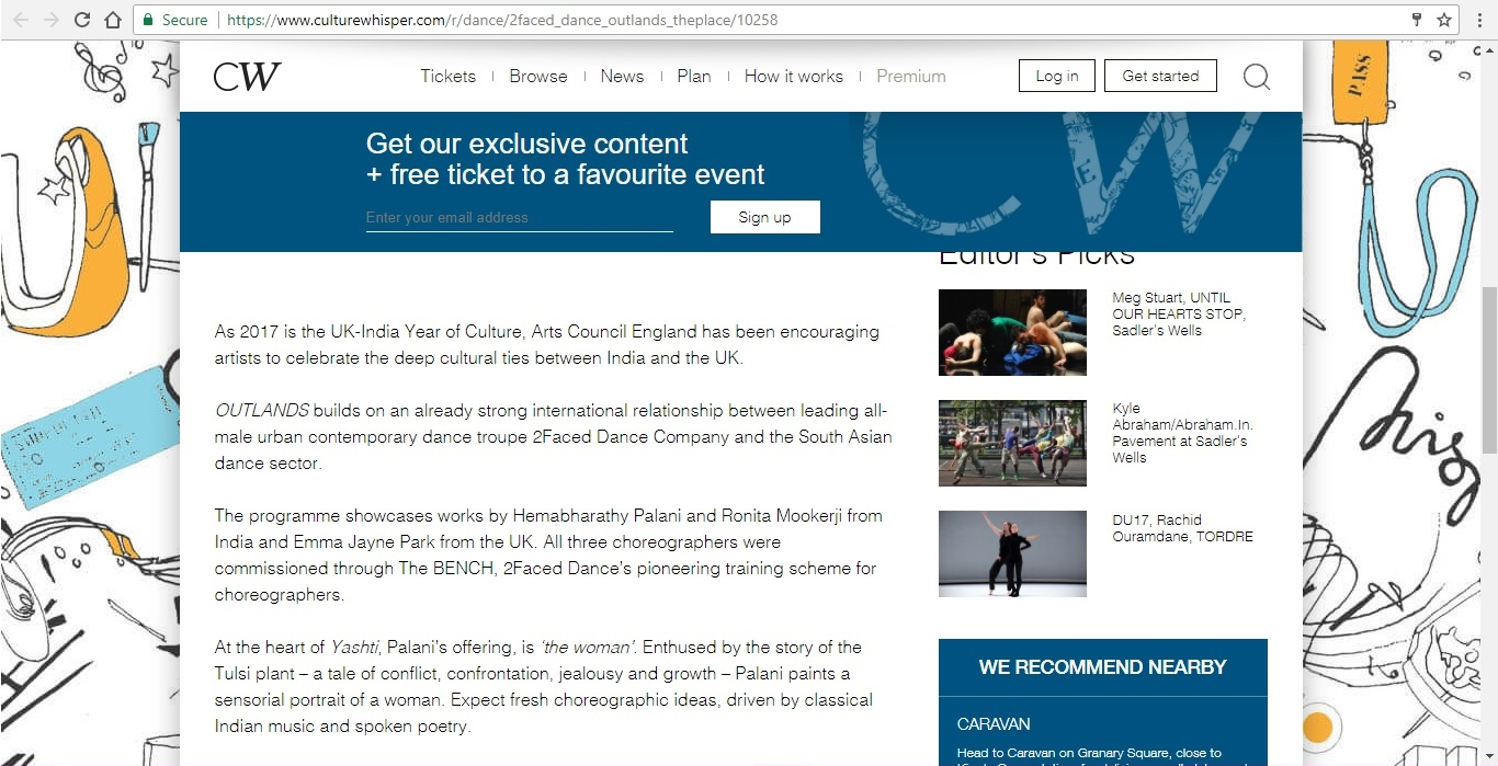 Screenshot of Culture Whisper content by Georgina Butler. Preview of 2Faced Dance Company: Outlands, image 3