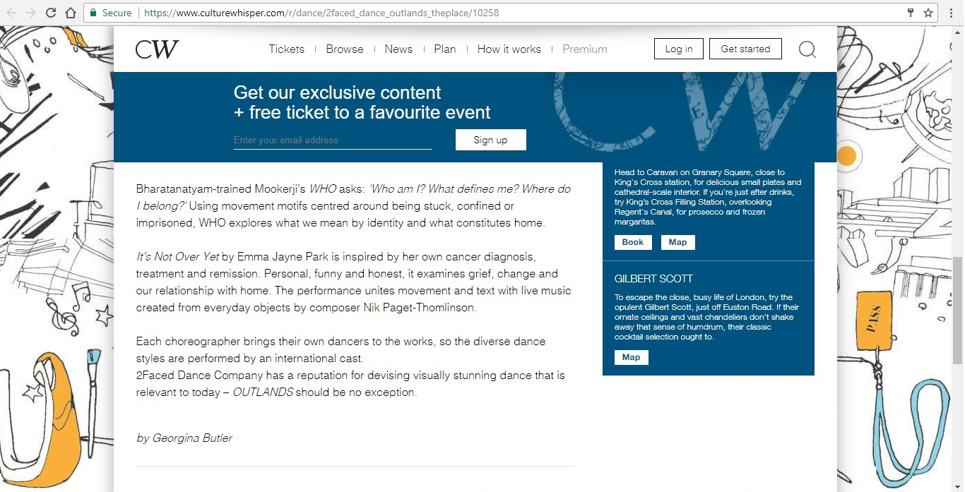 Screenshot of Culture Whisper content by Georgina Butler. Preview of 2Faced Dance Company: Outlands, image 4
