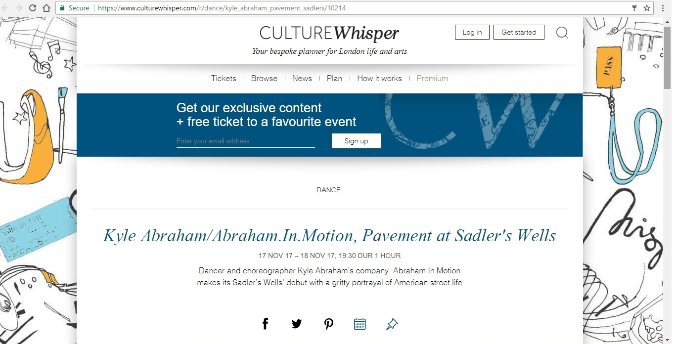 Screenshot of Culture Whisper content by Georgina Butler. Preview of Kyle Abraham/Abraham.In.Motion: Pavement, image 1