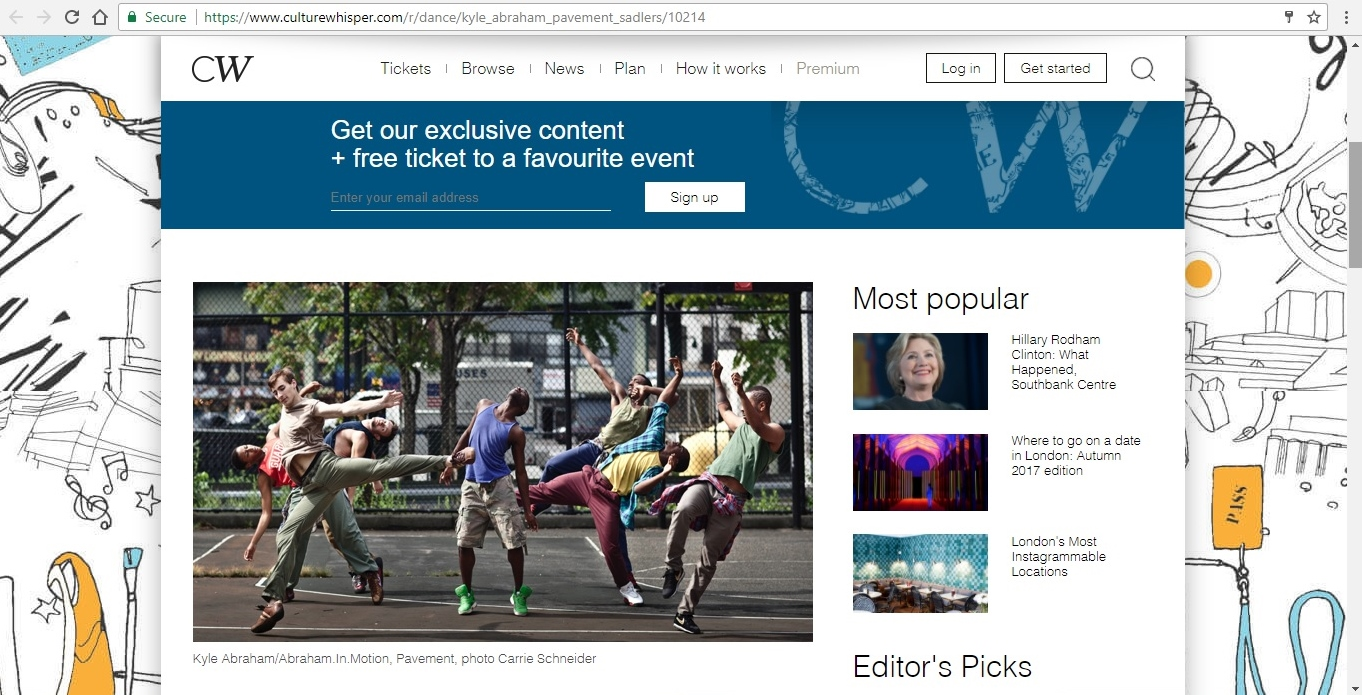 Screenshot of Culture Whisper content by Georgina Butler. Preview of Kyle Abraham/Abraham.In.Motion: Pavement, image 2