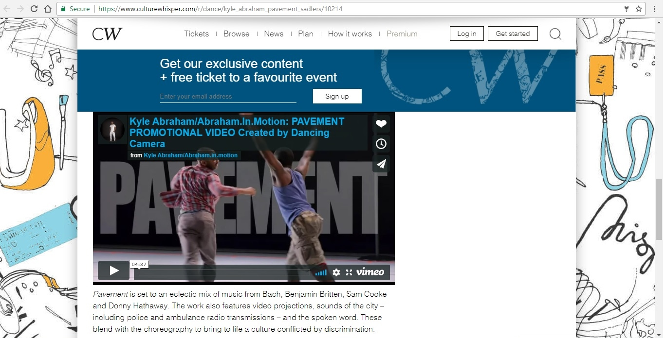 Screenshot of Culture Whisper content by Georgina Butler. Preview of Kyle Abraham/Abraham.In.Motion: Pavement, image 5