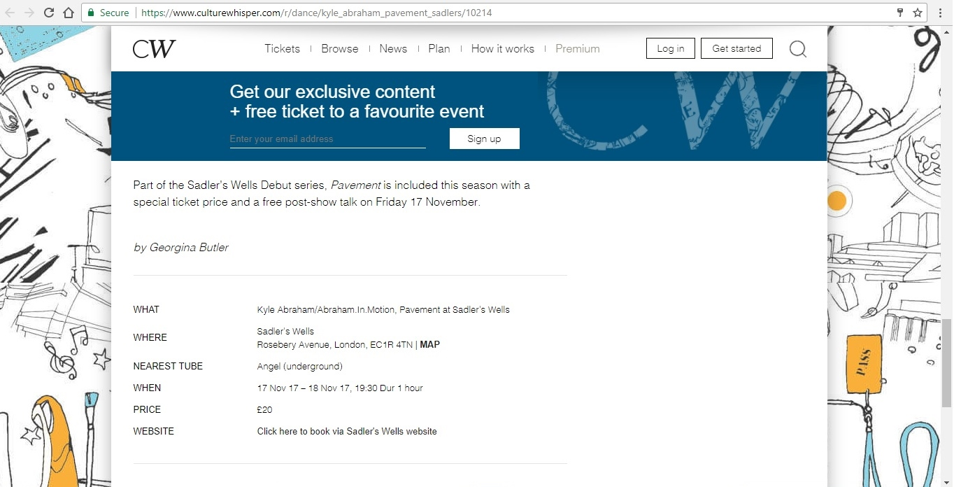 Screenshot of Culture Whisper content by Georgina Butler. Preview of Kyle Abraham/Abraham.In.Motion: Pavement, image 6