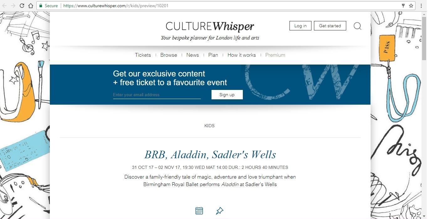 Screenshot of Culture Whisper content by Georgina Butler. Preview of Birmingham Royal Ballet: Aladdin, image 1