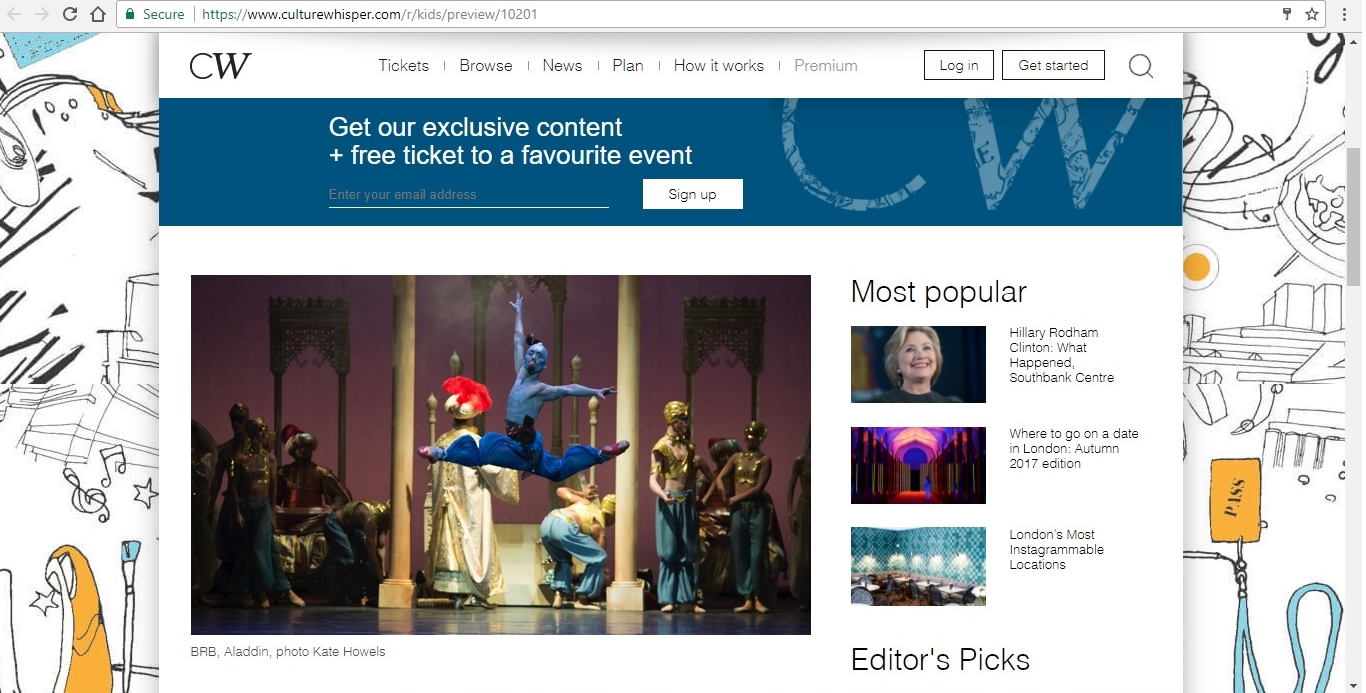 Screenshot of Culture Whisper content by Georgina Butler. Preview of Birmingham Royal Ballet: Aladdin, image 2