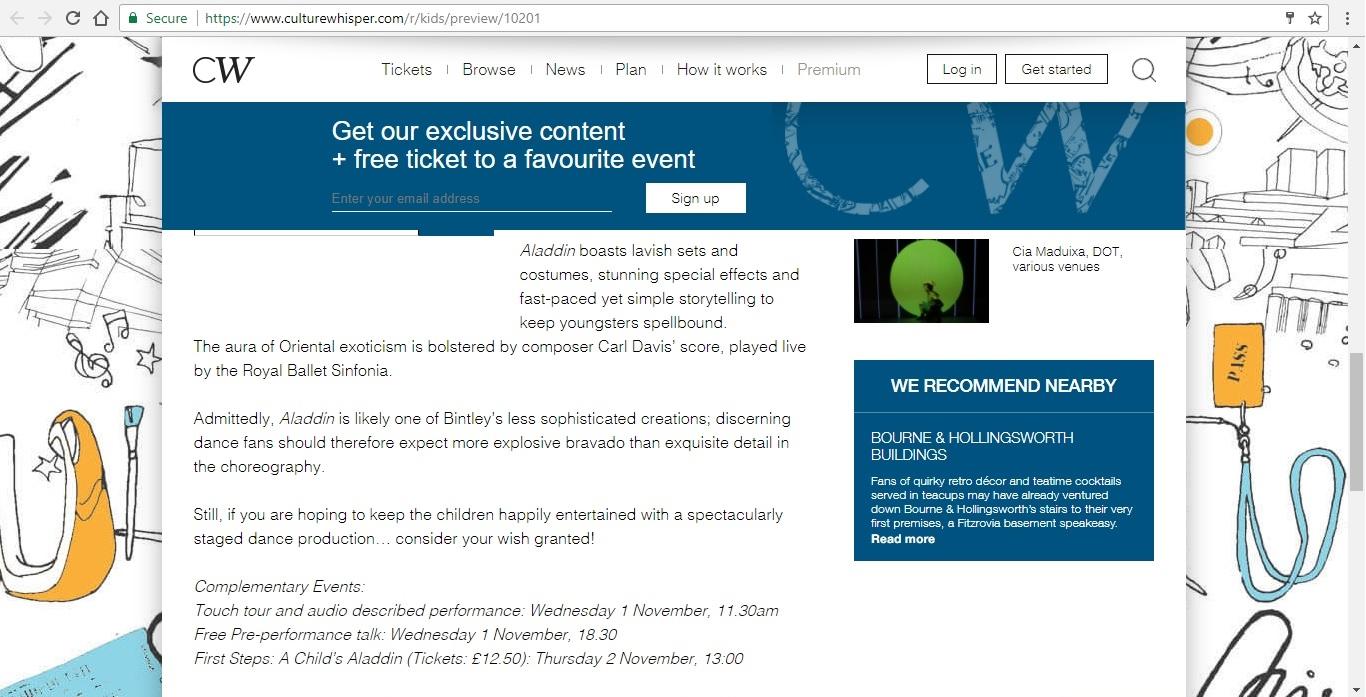 Screenshot of Culture Whisper content by Georgina Butler. Preview of Birmingham Royal Ballet: Aladdin, image 4