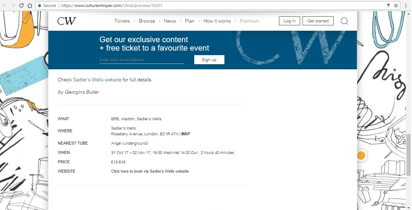 Screenshot of Culture Whisper content by Georgina Butler. Preview of Birmingham Royal Ballet: Aladdin, image 5