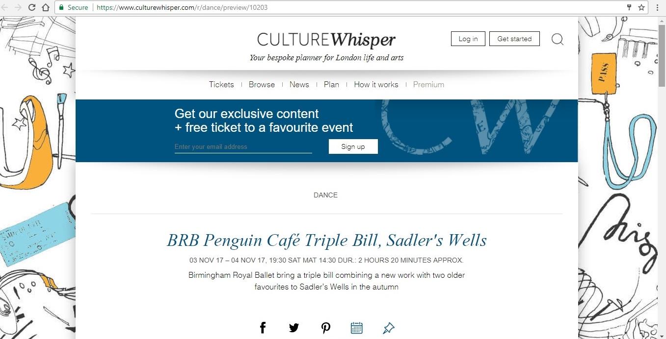 Screenshot of Culture Whisper content by Georgina Butler. Preview of Birmingham Royal Ballet: Penguin Café Triple Bill, image 1