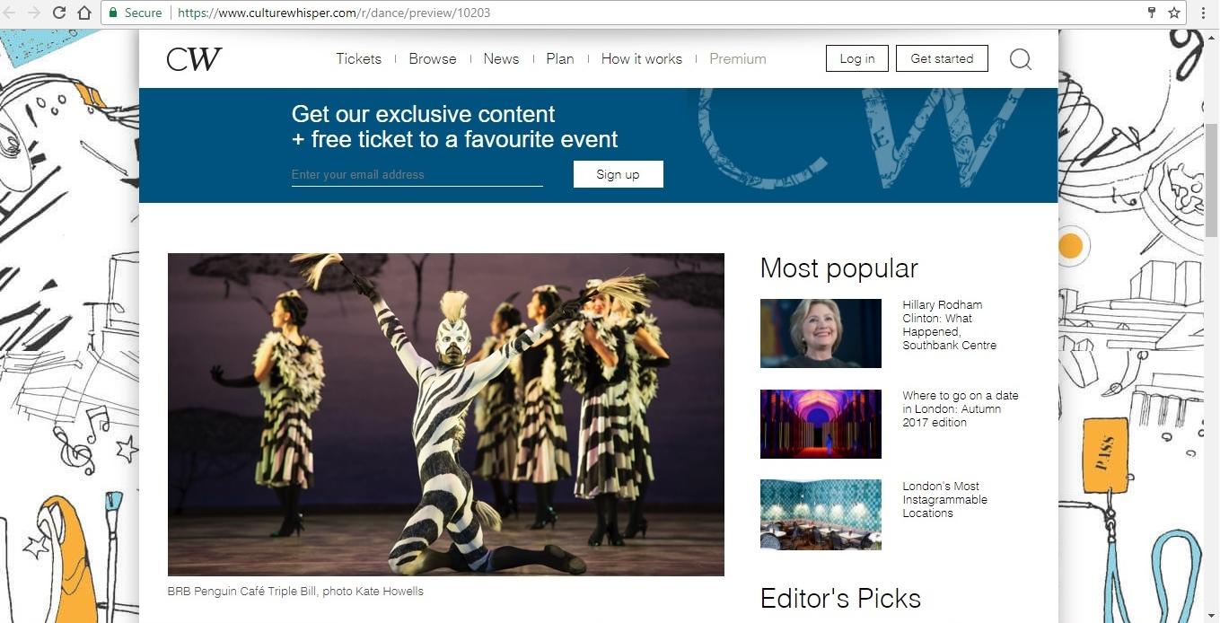 Screenshot of Culture Whisper content by Georgina Butler. Preview of Birmingham Royal Ballet: Penguin Café Triple Bill, image 2